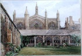 New College cloisters with gardener 1887 cil &