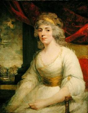 Portrait of Mrs. Billington seated, three quarter length in a white dress