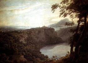The Lake of Nemi and the town of Genzano