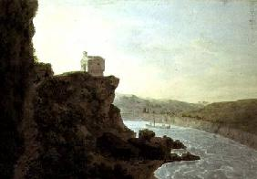 View on the Tiber near Ponte Molle, three miles from Rome 1780  on