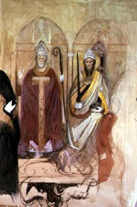 The Pope and the Emperor, fresco in the Spanish Chapel, Santa Maria Novella, Florence  on