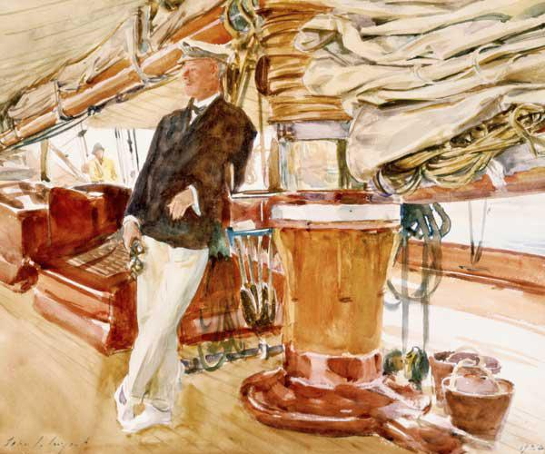 Captain Herbert M. Sears on deck of the Schooner Yacht Constellation 1924  and