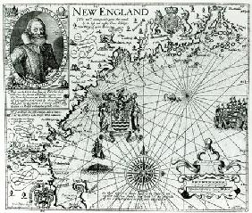 Map of the New England coastline in 1614, engraved by Simon de Passe (1595-1647) 1616 (engraving) (b 1796