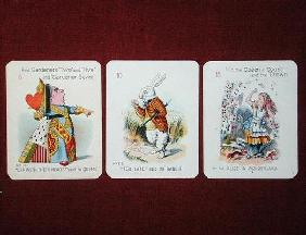 Three 'Happy Family' cards depicting characters from 'Alice in Wonderland' by Lewis Carroll (1832-98 19th