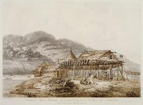 Balagans or Summer Habitations, with the Method of Drying Fish at St. Peter and Paul, Kamtschatka, f pub. 1792