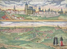 Map of Prague, from 'Civitates Orbis Terrarum' by Georg Braun (1541-1622) and Frans Hogenberg (1535- 18th