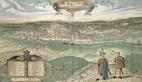 Map of Cracow, from 'Civitates Orbis Terrarum' by Georg Braun (1541-1622) and Frans Hogenberg (1535- 20th