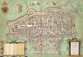 Map of Augsburg, from 'Civitates Orbis Terrarum' by Georg Braun (1541-1622) and Frans Hogenberg (153 1609