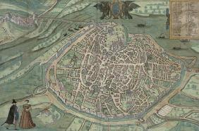 Map of Avignon, from 'Civitates Orbis Terrarum' by Georg Braun (1541-1622) and Frans Hogenberg, c.15 18th
