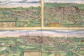 Map of Montpellier, Tours, and Poitiers, from 'Civitates Orbis Terrarum' by Georg Braun (1541-1622)