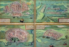 Map of Calais, Malta, Rhodes, and Famagusta, from 'Civitates Orbis Terrarum' by Georg Braun (1541-16 18th