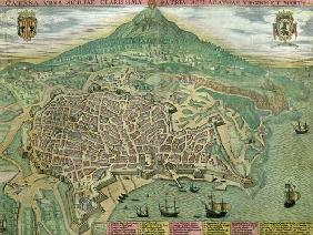 Map of Catania, from 'Civitates Orbis Terrarum' by Georg Braun (1541-1622) and Frans Hogenberg (1535 18th