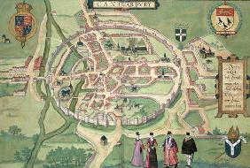 Map of Canterbury, from 'Civitates Orbis Terrarum' by Georg Braun (1541-1622) and Frans Hognenberg ( 19th