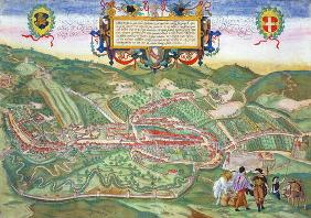 Map of Serravalle, from 'Civitates Orbis Terrarum' by Georg Braun (1541-1622) and Frans Hogenberg (1 1854