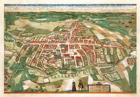 Map of Odense, from 'Civitates Orbis Terrarum' by Georg Braun (1541-1622) and Frans Hogenberg (1535- 19th