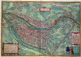 Map of Lyon, from 'Civitates Orbis Terrarum' by Georg Braun (1541-1622) and Frans Hogenberg (1535-90