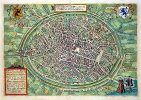 Town Plan of Bruges, from 'Civitates Orbis Terrarum' by Georg Braun (1541-1622) and Frans Hogenburg 19th