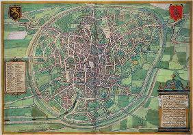 Town Plan of Brussels, from 'Civitates Orbis Terrarum' by Georg Braun (1542-1622) and Frans Hogenbur 19th