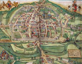 Map of Exeter, from 'Civitates Orbis Terrarum' by Georg Braun (1541-1622) and Frans Hogenberg (1535- 19th