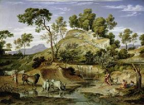 Landscape with Shepherds and Cows and at the Spring 1832-34
