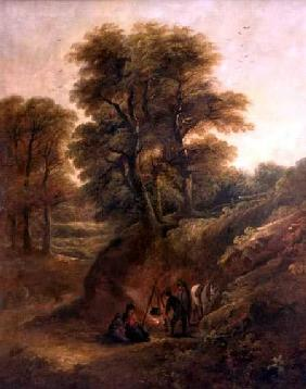 Wooded Landscape with Gypsies Round a Fire
