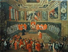 Kunstdruck von Joseph Heintz d.Ä. - Audience with the Doge in at the College of the Ducale Palace