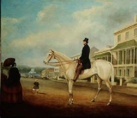 Rider on a white horse, probably in Macquarie Street North c.1850