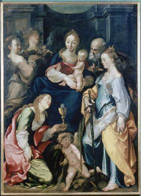 Kunstdruck von Joseph Heintz d.Ä. - Die hl. Familie mit Engeln, sowie den hll. Barbara und Katharina.