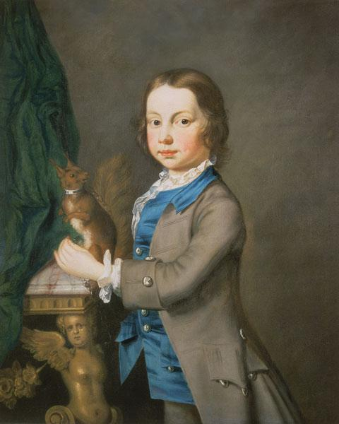A Portrait of a Boy with a Pet Squirrel