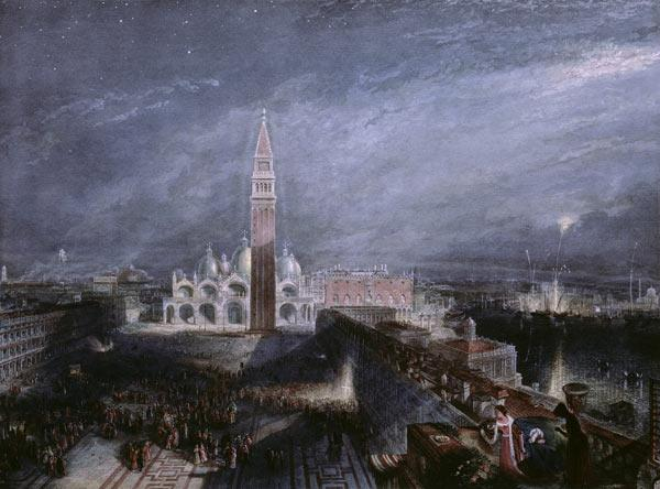 St. Mark's Place, Venice (Moonlight) engraved by George Hollis (1792-1842) pub. 1881 (litho) 1913