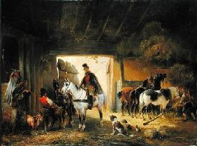 A Rider watering his Horse in a Stable 1840