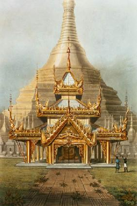 The Gold Temple of the Principal Idol Guadma at Rangoon plate 7 from 'Rangoon Views', engraved by Ge 13th