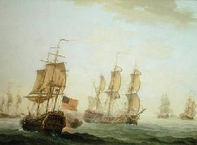 Naval Engagement between a British East Indiaman and a French Warship 1781