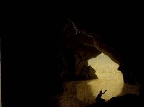 A Grotto in the Gulf of Salernum, with the figure of Julia, banished from Rome exh. 1780
