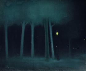 A Park at Night, c.1892-95 (pastel on canvas)