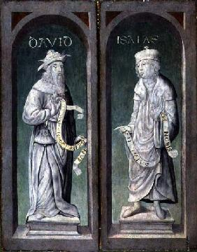 David and Isaiah, closed panels of the Birth of Christ Triptych