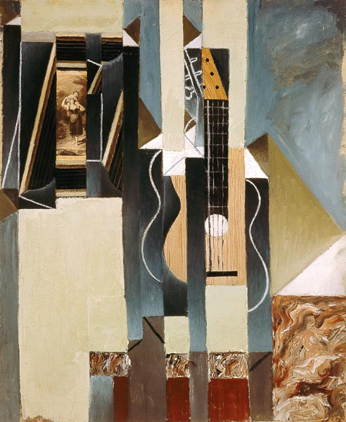 stillleben mit gitarre und aufgeklebtem juan gris als kunstdruck oder handgemaltes gem lde. Black Bedroom Furniture Sets. Home Design Ideas