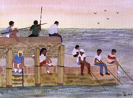 twilight fishing 1988 w c judy joel als kunstdruck oder handgemaltes gem lde. Black Bedroom Furniture Sets. Home Design Ideas