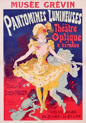 Poster advertising 'Pantomimes Lumineuses, Theatre Optique de E. Reynaud' at the Musee Grevin, print 1892