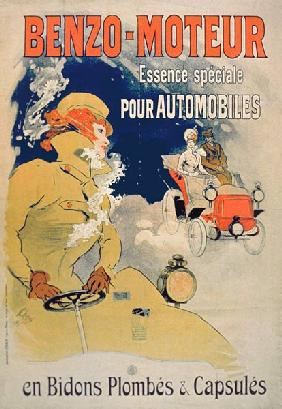 Poster advertising 'Benzo-Moteur' Motor Oil Especially for Automobiles 1901