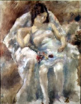 Young Woman Seated with Flowers 1929