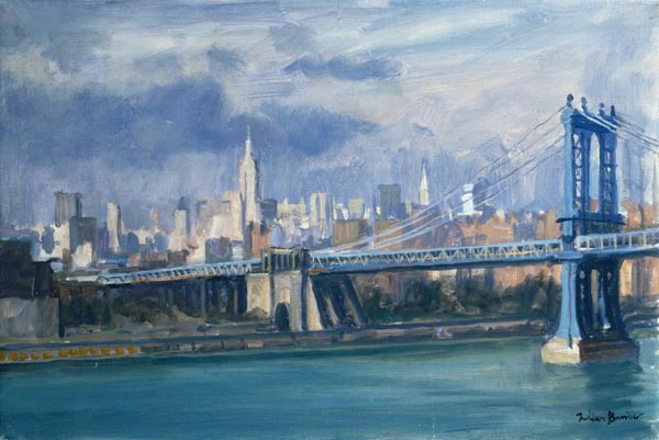 manhattan bridge new york 1996 oil on julian barrow als kunstdruck oder handgemaltes gem lde. Black Bedroom Furniture Sets. Home Design Ideas