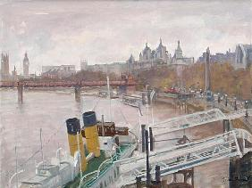 Westminster from Waterloo Bridge (oil on canvas)