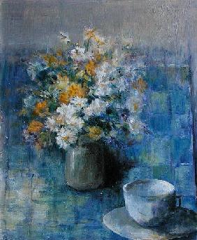 Teacup and Daisies (oil on canvas)