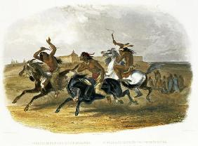 Horse Racing of Sioux Indians near Fort Pierre, plate 30 from Volume 1 of 'Travels in the Interior o 1837