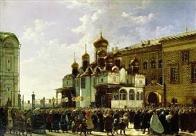 Easter procession at the Maria Annunciation Cathedral in Moscow