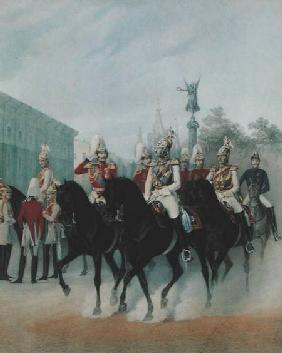Emperor Nicholas I (1796-1855) and Grand Duke Alexander (1845-94) in St. Petersburg 1843  on