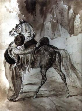 A Turk mounting a horse 1835