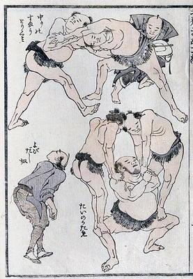 Studies of gestures and postures of wrestlers, from a Manga (colour woodblock print) 18th