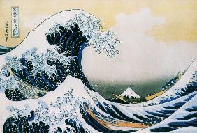 Kunstdruck von Katsushika Hokusai - Die große Woge - Aus der Serie der 36 Ansichten des Fudschijama